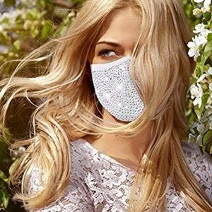 💗White Bling Face Mask, White Rhinestone Mask